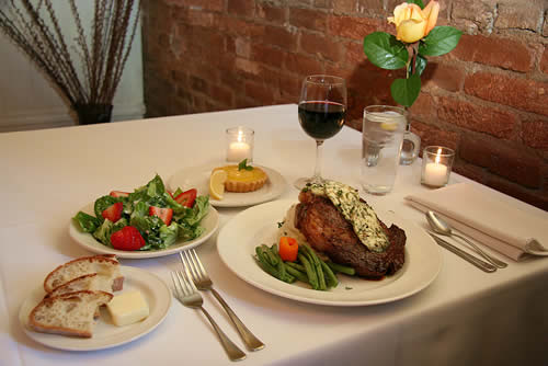 dinner on table - amador wine country hotel, saloon & restaurant